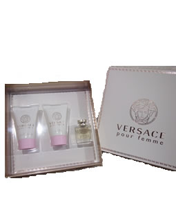 VERSACE POUR FEMME EDP MINIATURE 3 PIECES TRAVEL GIFT SET FOR WOMEN