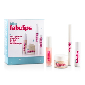 BLISS FABULIPS TREATMENT KIT: LIP CLEANSER + LIP SCRUB + LIP PLUMPER + LIP BALM 4PCS