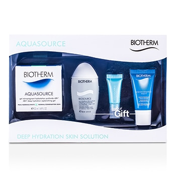 BIOTHERM AQUASOURCE SET: HIGH DENSITY HYDRATING JELLY + EYE PERFECTION + CLEANSING MICELLAR WATER + DEEP HYDRATION REPLENISHING GEL 4PCS