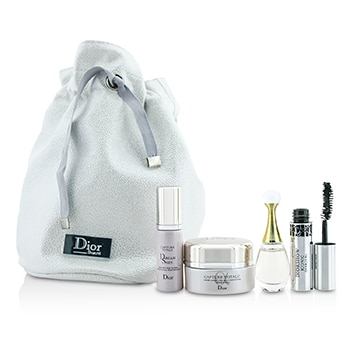 CHRISTIAN DIOR TRAVEL SET: CAPTURE TOTALE CREAM 15ML + DREAMSKIN 7ML + JADORE EDP 5ML + MASCARA 4ML + BAG 4PCS+1BAG