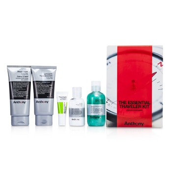 ANTHONY LOGISTICS FOR MEN THE ESSENTIAL TRAVELER KIT:  CLEANSER + MOSITURIZER + LIP BLAM + SHAVE CREAM + HAIR & BODY WASH 5PCS