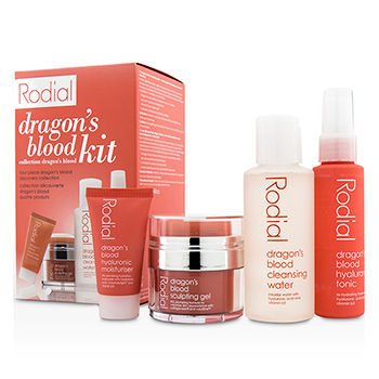 RODIAL DRAGONS BLOOD KIT: CLEANSING WATER 100ML/3.4OZ + TONIC 50ML/1.7OZ + SCULPING GEL 9ML/0.3OZ + MOISTURISER 10ML/0.3OZ 4PCS