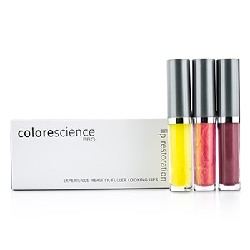 COLORESCIENCE LIP RESTORATION SYSTEM SET: LIP EXFOLIATOR 3.5ML + LIP SERUM #PINK 3.5ML + LIP POLISH #ROSE 3.5ML 3PCS