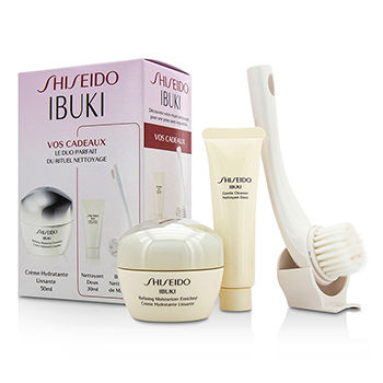 SHISEIDO IBUKI SET: REFINING MOISTURIZER ENRICHED 50ML/1.7OZ + GENTLE CLEANSER 30ML/1OZ + CLEANSING MASSAGE BRUSH 3PCS