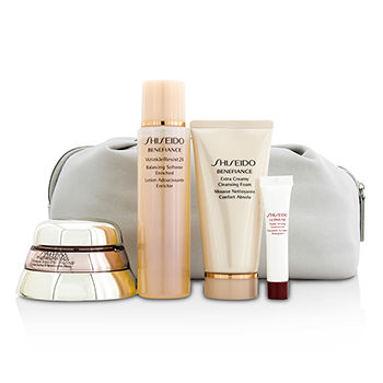 SHISEIDO BIO PERFORMANCE SET: SUPER RESTORING CREAM 50ML + CLEANSING FOAM 50ML + SOFTENER ENRICHED 75ML + CONCENTRATE 5ML + BAG 4PCS+1BAG