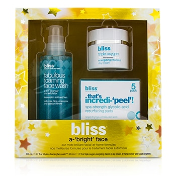 BLISS A-BRIGHT FACE SET: FABULOUS FOAMING FACE WASH 200ML + TRIPLE OXYGEN DAY CREAM 50ML + THATS INCREDI-PEEL! 5PADS 3PCS