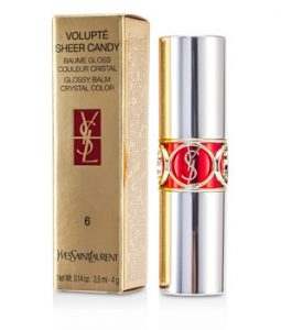 YVES SAINT LAURENT VOLUPTE SHEER CANDY LIPSTICK (GLOSSY BALM CRYSTAL COLOR) - # 06 LUSCIOUS CHERRY 4G/0.14OZ
