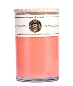 TERRA ESSENTIAL SCENTS MASSAGE & AROMATHERAPY CANDLE - MANGO & PEACH 12OZ