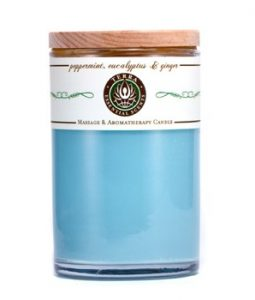 TERRA ESSENTIAL SCENTS MASSAGE & AROMATHERAPY CANDLE - PEPPERMINT, EUCALYPTUS & GINGER 12OZ