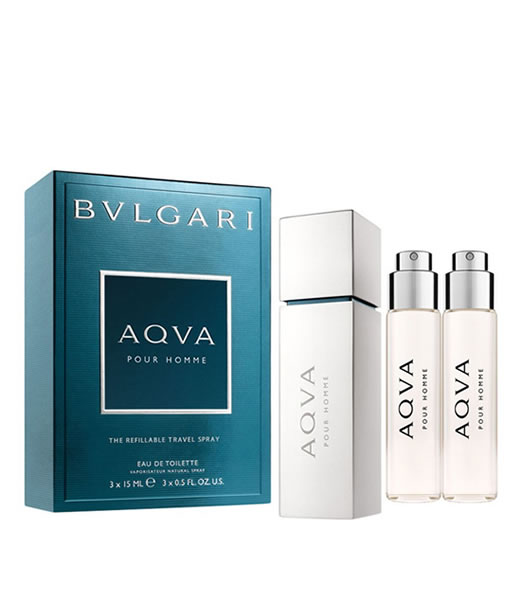 BVLGARI AQVA POUR HOMME THE REFILLABLE TRAVEL SPRAY GIFT SET FOR MEN