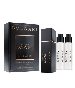 BVLGARI MAN IN BLACK THE REFILLABLE TRAVEL SPRAY GIFT SET FOR MEN