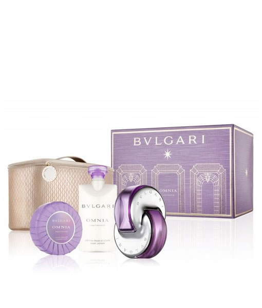 BVLGARI OMNIA AMETHYSTE 4 PCS WITH BEAUTY POUCH GIFT SET FOR WOMEN