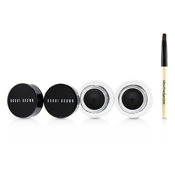 BOBBI BROWN LONG WEAR GEL EYELINER DUO: 2X GEL EYELINER 3G (BLACK INK) + MINI ULTRA FINE EYE LINER BRUSH  3PCS