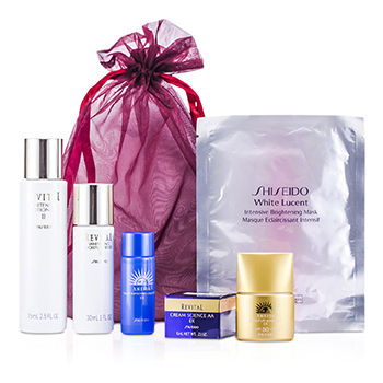 SHISEIDO PROMOTION SET: LOTION 75ML + MOISTURIZER 30ML + CLEANSING 20ML + SUNSCREEN SPF 50 12ML + REVITAL CREAM 6ML + MASK 6PCS