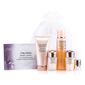 SHISEIDO TRAVEL SET: BALANCING SOFTENER ENRICHED 75ML/2.5OZ + CLEANSING FOAM 50ML/1.7OZ + DAY EMULSION 15ML/0.5OZ + NIGHT EMULSION 15ML/0.5OZ + REVITAL WHITENING SERUM AA EX 10ML/0.33OZ + BRIGHTENING MASK 6PCS
