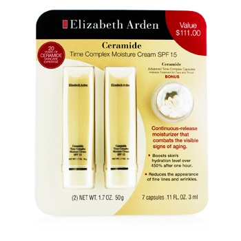 ELIZABETH ARDEN CERAMIDE SET: 2X TIME COMPLEX MOISTURE CREAM SPF 15 50G + ADVANCED TIME COMPLEX CAPSULES 3ML 3PCS