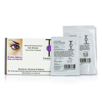 TRANSFORMULAS WRINKLE DEFENCE MASK AND PATCH KIT: 1X FACIAL MASK, 1X EYE PATCHES 2PCS