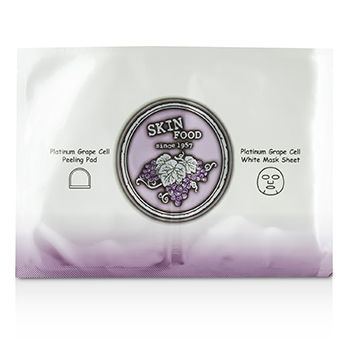 SKINFOOD PLATINUM GRAPE CELL PEELING PAD & PLATINUM GRAPE CELL WHITE MASK SHEET 5X42ML/1.42OZ