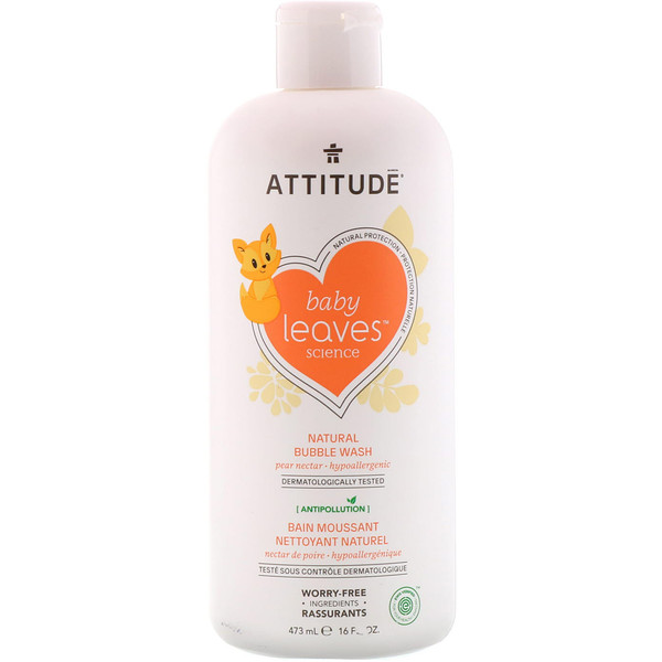 ATTITUDE, BABY LEAVES SCIENCE, NATURAL BUBBLE WASH, PEAR NECTAR, 16 FL OZ / 473ml
