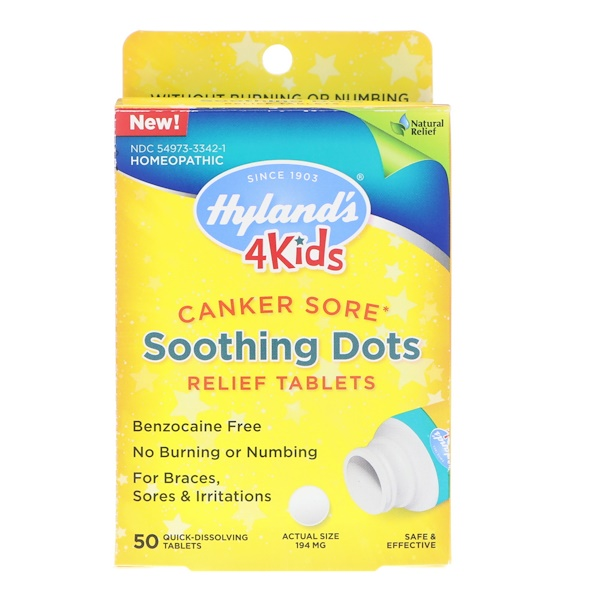 HYLAND'S, 4 KIDS, CANKER SORE, SOOTHING DOTS RELIEF TABLETS, 50 QUICK-DISSOLVING TABLETS