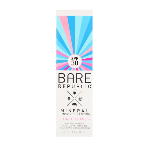 BARE REPUBLIC, MINERAL SUNSCREEN LOTION, TINTED FACE, SPF 30, 1.7 FL OZ / 50ml
