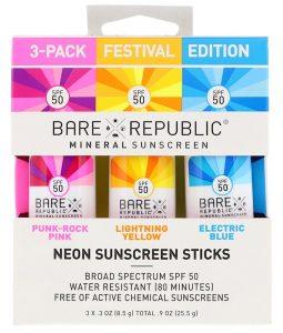 BARE REPUBLIC, NEON SUNSCREEN STICKS, FESTIVAL EDITION, SPF 50, 3 PACK, .3 OZ / 8.5g EACH