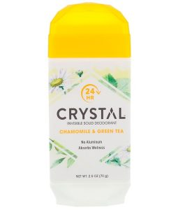 CRYSTAL BODY DEODORANT, INVISIBLE SOLID DEODORANT, CHAMOMILE & GREEN TEA, 2.5 OZ / 70g