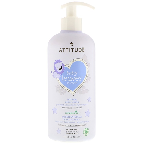 ATTITUDE, BABY LEAVES SCIENCE, NATURAL BODY LOTION, ALMOND MILK, 16 FL OZ / 473ml