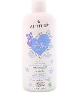 ATTITUDE, BABY LEAVES SCIENCE, NATURAL BUBBLE WASH, GOOD NIGHT / ALMOND MILK, 16 FL OZ / 473ml