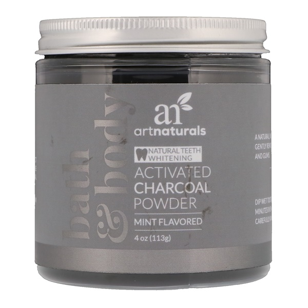 ARTNATURALS, ACTIVATED CHARCOAL POWDER, MINT FLAVORED, 4 OZ / 113g