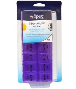 APEX, 7-DAY AM/PM PILL TRAY, 1 PILL TRAY