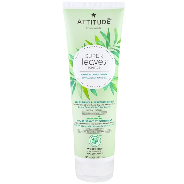 ATTITUDE, SUPER LEAVES SCIENCE, NATURAL CONDITIONER, NOURISHING & STRENGTHENING, GRAPE SEED OIL & OLIVE LEAVES, 8 OZ / 240ml