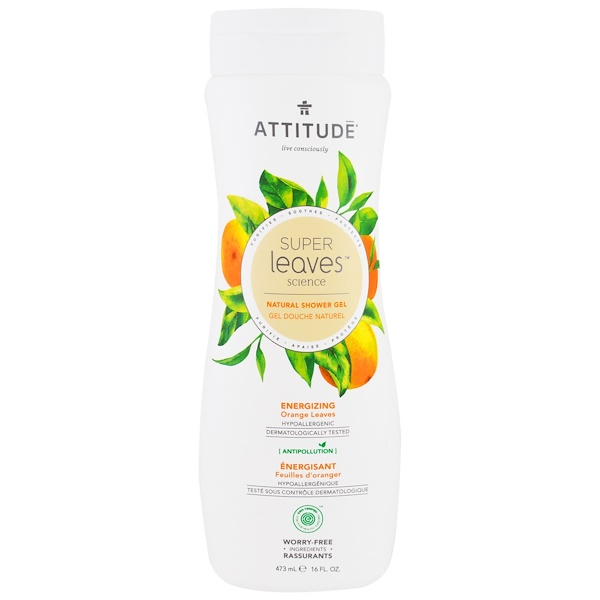 ATTITUDE, SUPER LEAVES SCIENCE, NATURAL SHOWER GEL, ENERGIZING, ORANGE LEAVES, 16 OZ / 473ml