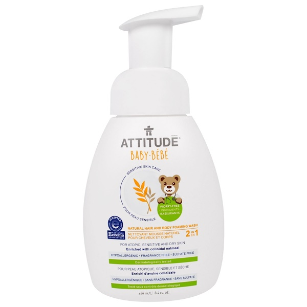 ATTITUDE, SENSITIVE SKIN CARE, BABY, 2-IN-1, NATURAL HAIR AND BODY FOAMING WASH, FRAGRANCE FREE, 8.4 FL OZ / 250ml