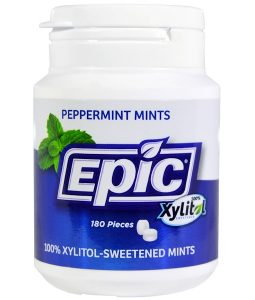 EPIC DENTAL, 100% XYLITOL-SWEETENED, PEPPERMINT MINTS, 180 PIECES