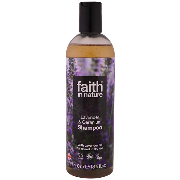 FAITH IN NATURE, SHAMPOO, FOR NORMAL TO DRY HAIR, LAVENDER & GERANIUM, 13.5 FL OZ / 400ml