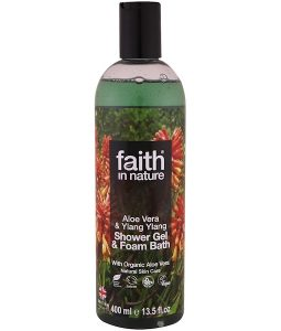 FAITH IN NATURE, SHOWER GEL & FOAM BATH, ALOE VERA & YLANG YLANG, 13.5 FL. OZ / 400ml