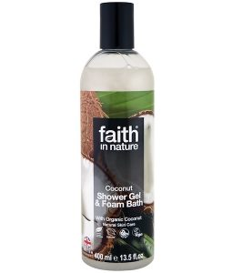 FAITH IN NATURE, SHOWER GEL & FOAM BATH, COCONUT, 13.5 FL OZ / 400ml
