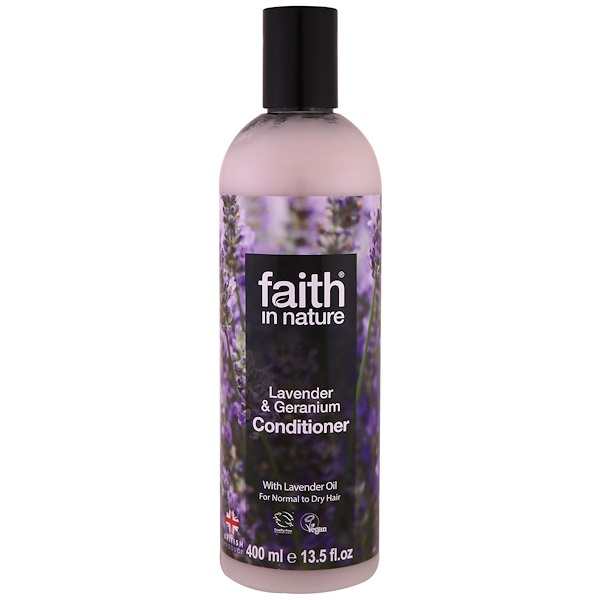 FAITH IN NATURE, CONDITIONER, FOR NORMAL TO DRY HAIR, LAVENDER & GERANIUM, 13.5 FL OZ / 400ml