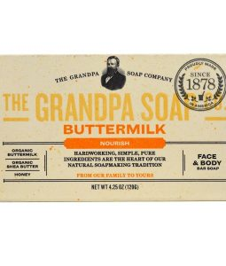 GRANDPA'S, FACE & BODY BAR SOAP, NOURISH, BUTTERMILK, 4.25 OZ / 120g
