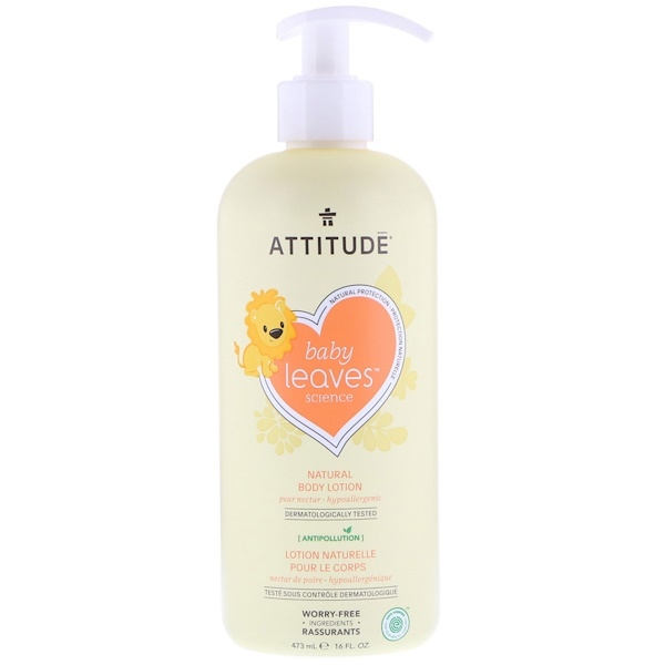 ATTITUDE, BABY LEAVES SCIENCE, NATURAL BODY LOTION, PEAR NECTAR, 16 FL OZ / 473ml