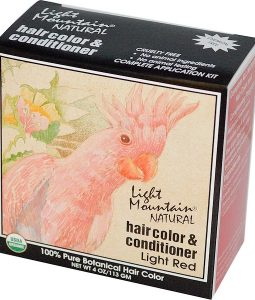LIGHT MOUNTAIN, ORGANIC NATURAL HAIR COLOR & CONDITIONER, LIGHT RED, 4 OZ / 113G)