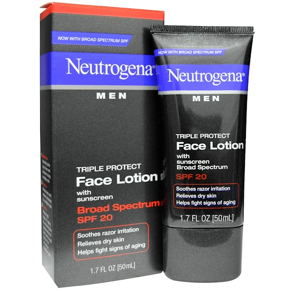 NEUTROGENA, MEN, TRIPLE PROTECT FACE LOTION WITH SUNSCREEN, SPF 20, 1.7 FL OZ / 50ml