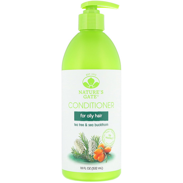 NATURE'S GATE, TEA TREE + SEA BUCKTHORN CONDITIONER, FOR OILY HAIR, 18 FL OZ / 532ml