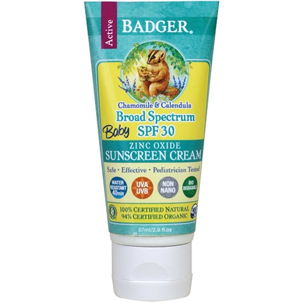 BADGER COMPANY, BABY SUNSCREEN CREAM, BROAD SPECTRUM SPF 30, CHAMOMILE & CALENDULA, 2.9 FL OZ / 87ml