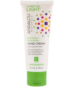 ANDALOU NATURALS, A PATH OF LIGHT, SHEA BUTTER + COCOA BUTTER HAND CREAM, LIME BLOSSOM, 3.4 FL OZ / 100ml