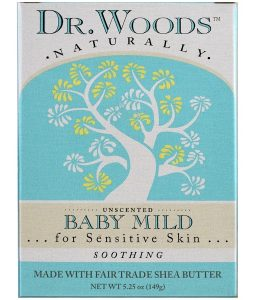 DR. WOODS, BABY MILD CASTILE SOAP, UNSCENTED, 5.25 OZ / 149g