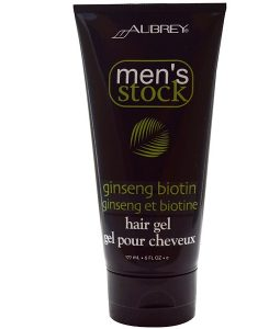AUBREY ORGANICS, MEN'S STOCK, HAIR GEL, GINSENG BIOTIN, 6 FL OZ / 177ml