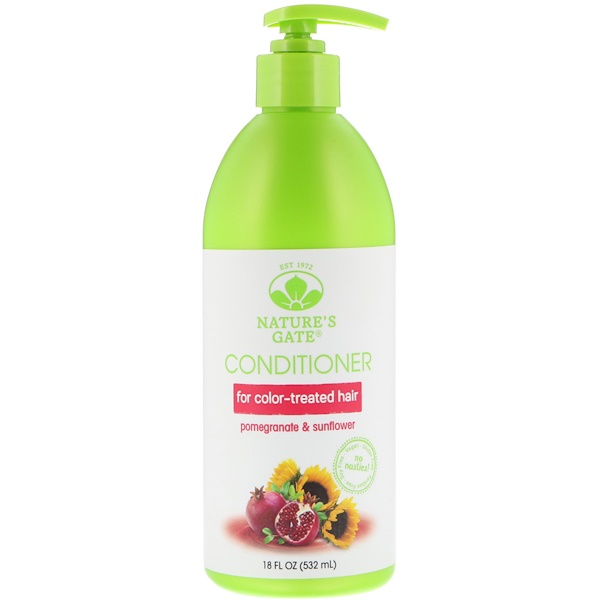 NATURE'S GATE, POMEGRANATE & SUNFLOWER CONDITIONER, FOR COLOR-TREATED HAIR, 18 FL OZ / 532ml