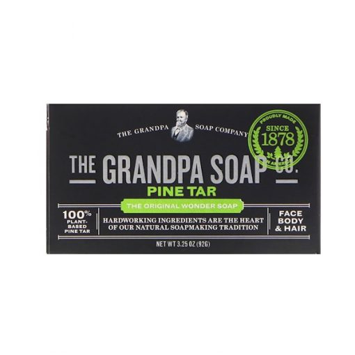 GRANDPA'S, FACE BODY & HAIR BAR SOAP, PINE TAR, 3.25 OZ / 92g